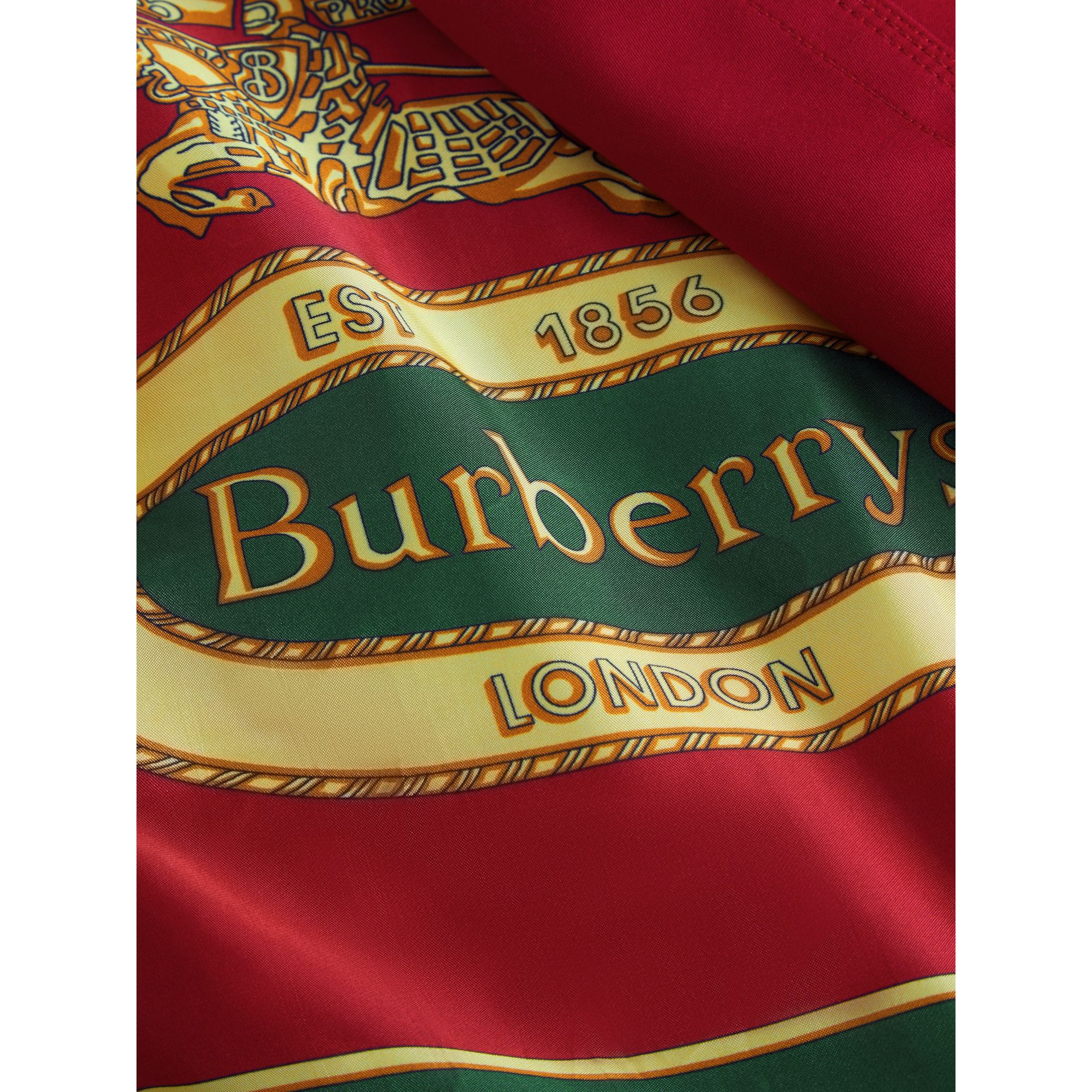 Scarf-print-lined Tropical Gabardine Trench Coat in Parade Red - Women | Burberry - gallery image 7