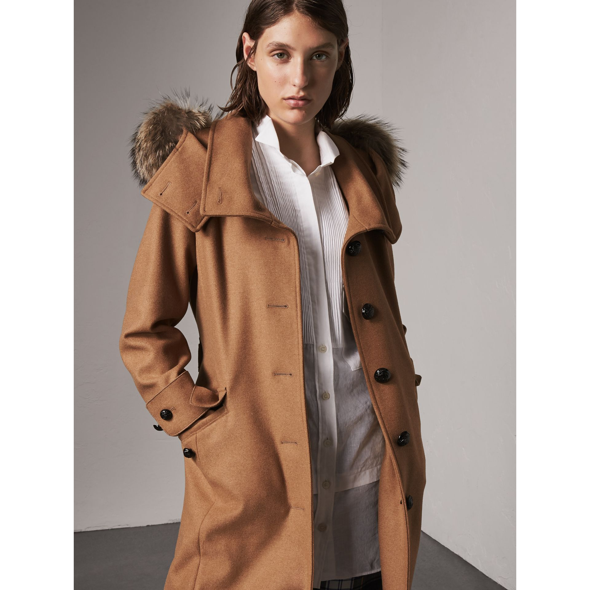 Hooded Wool Blend Coat with Detachable Fur Trim in Camel Melange - Women | Burberry - gallery image 6