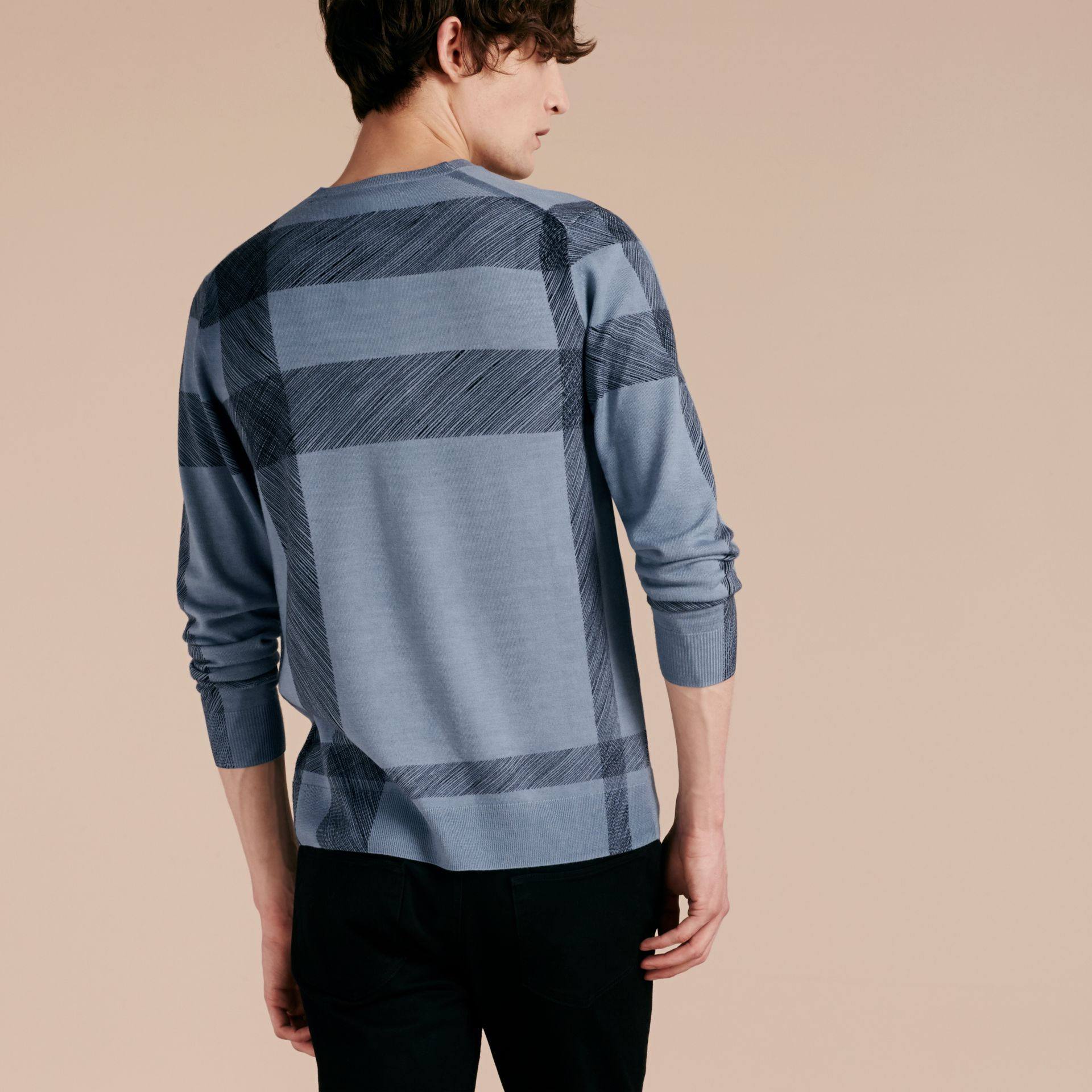 Light blue Abstract Check Merino Wool Sweater - gallery image 3