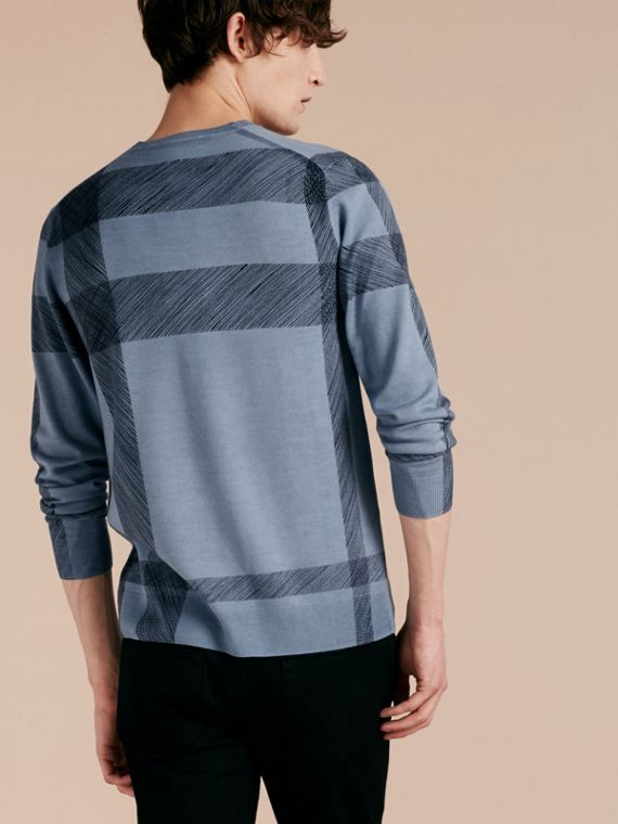 Light blue Abstract Check Merino Wool Sweater - cell image 2