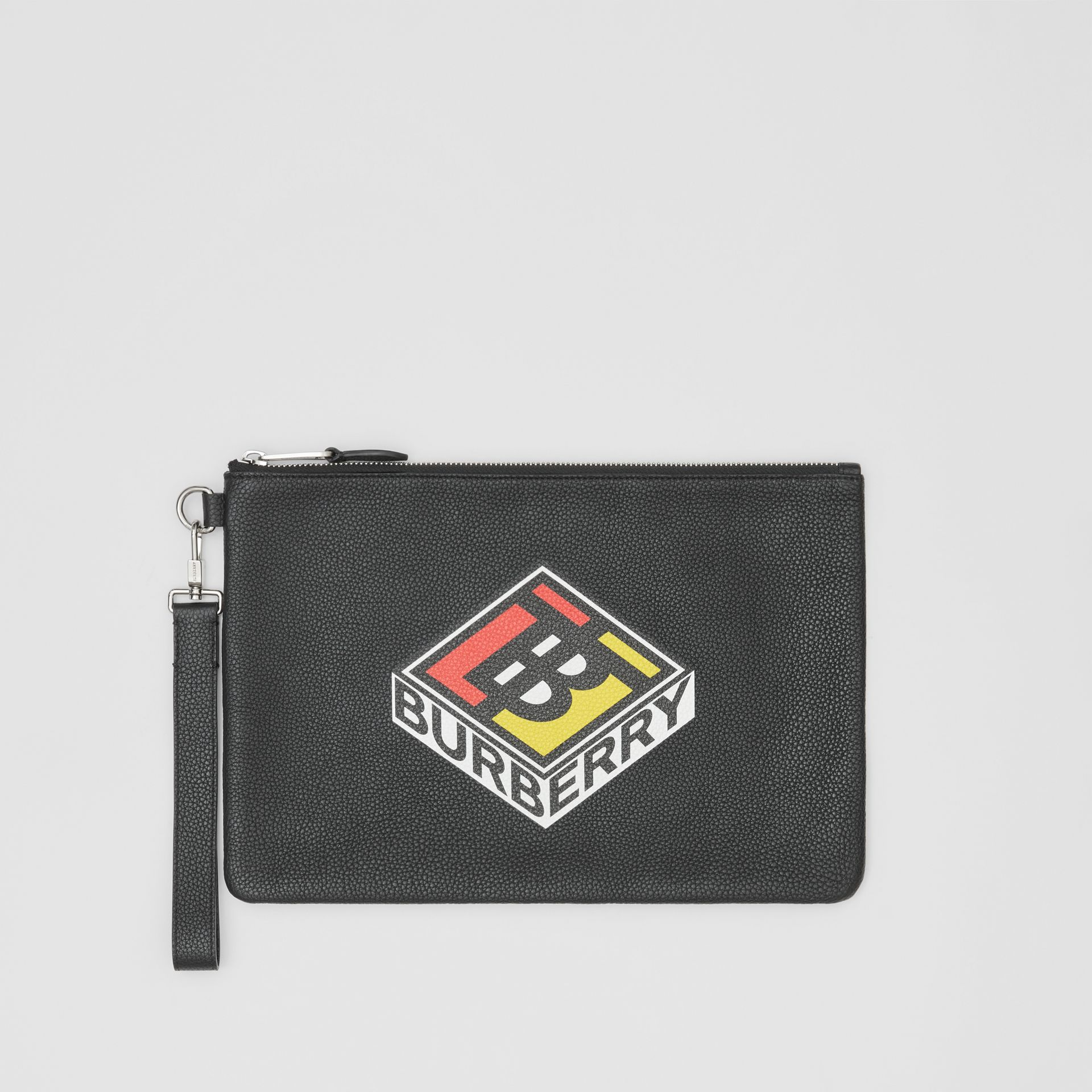Logo Graphic Grainy Leather Zip Pouch in Black - Men   Burberry United Kingdom - gallery image 0
