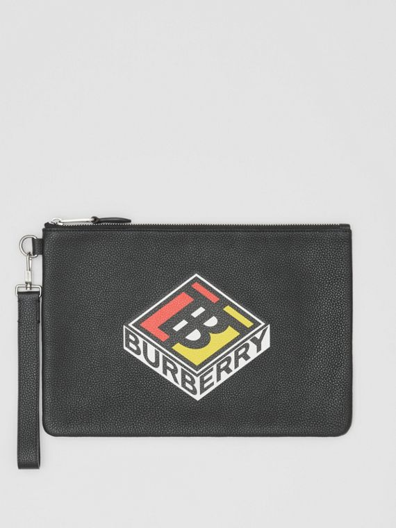 Logo Graphic Grainy Leather Zip Pouch in Black