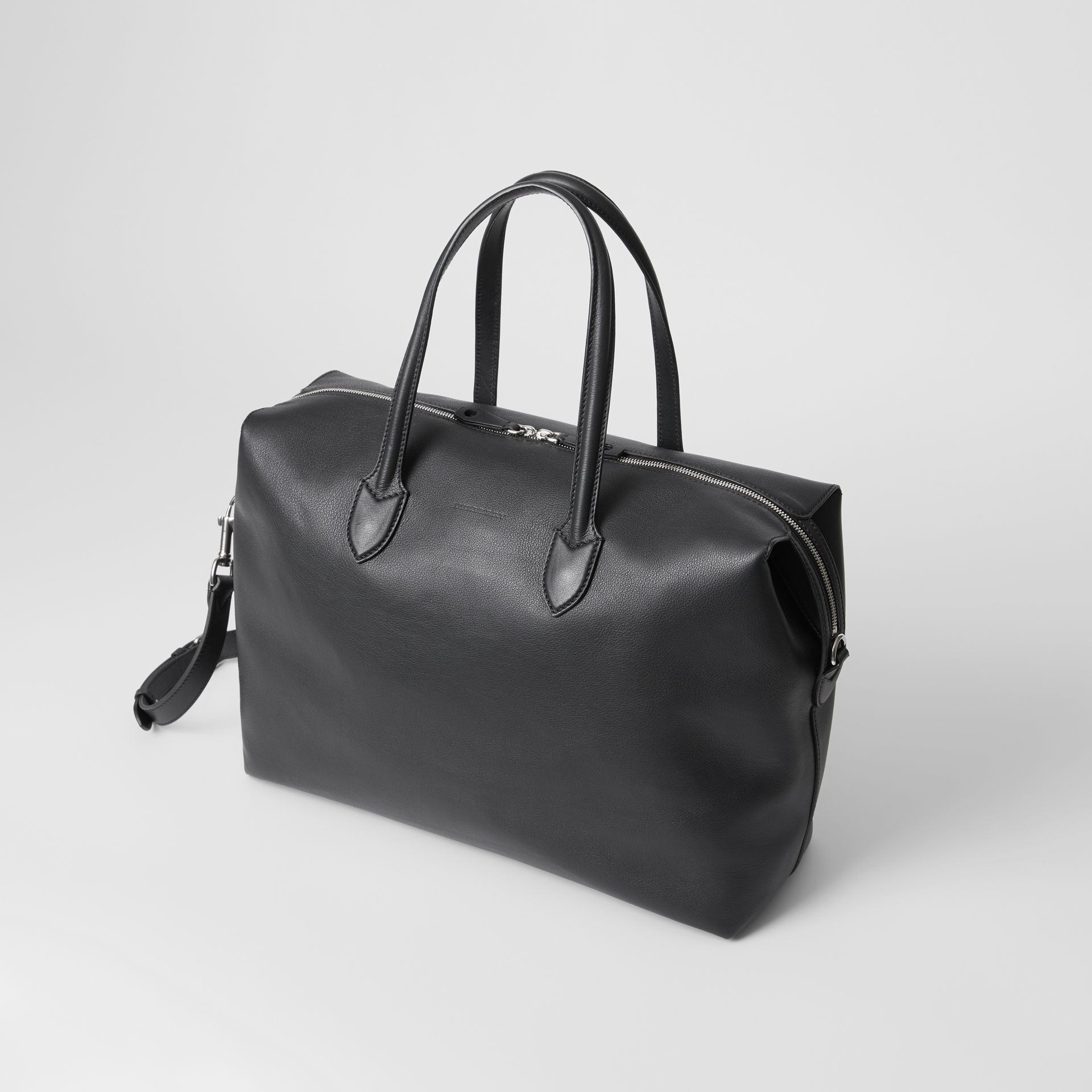 Soft Leather Holdall in Black - Men | Burberry - gallery image 4