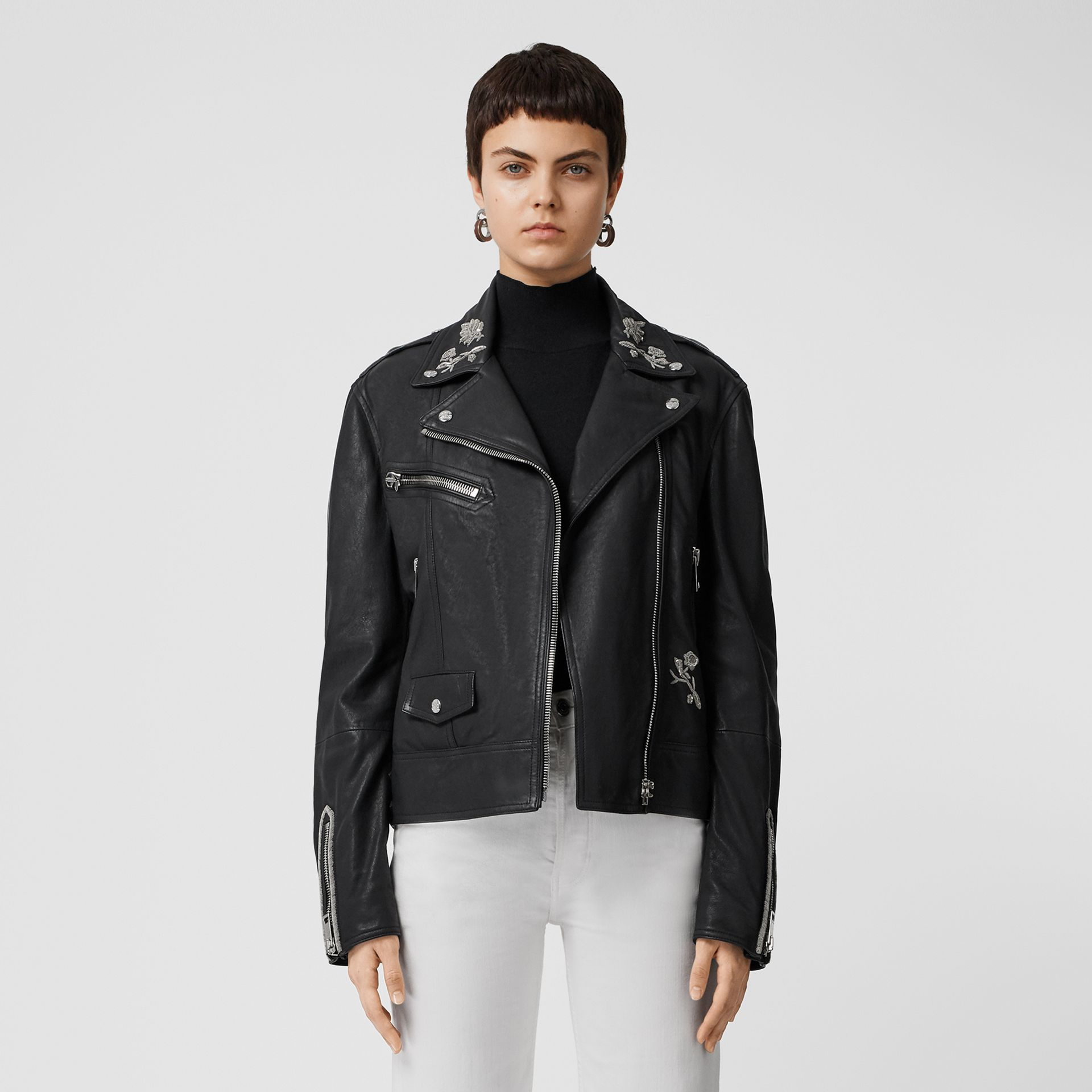 Bullion Floral Lambskin Biker Jacket in Black - Women | Burberry - gallery image 6