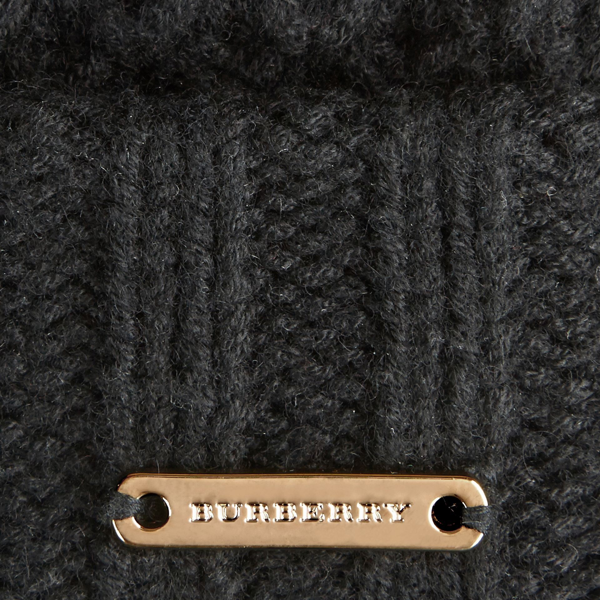 Fur Pom-Pom Beanie in Black - gallery image 2