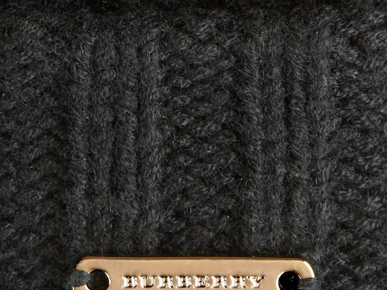 Fur Pom-Pom Beanie in Black - cell image 1