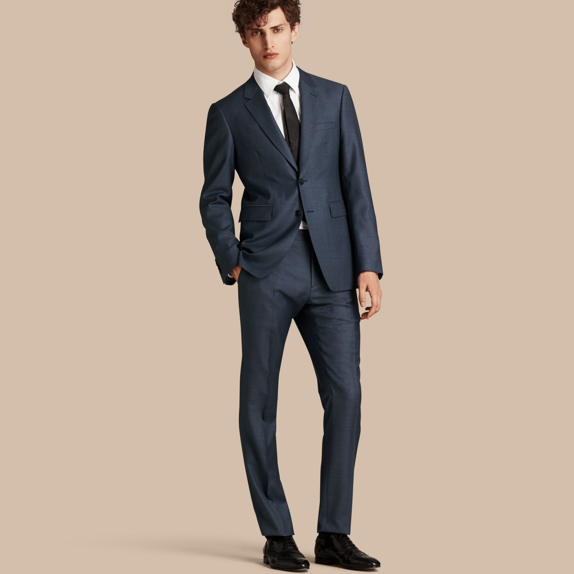 Airforce blue Modern Fit Travel Tailoring Wool Suit - gallery image 1
