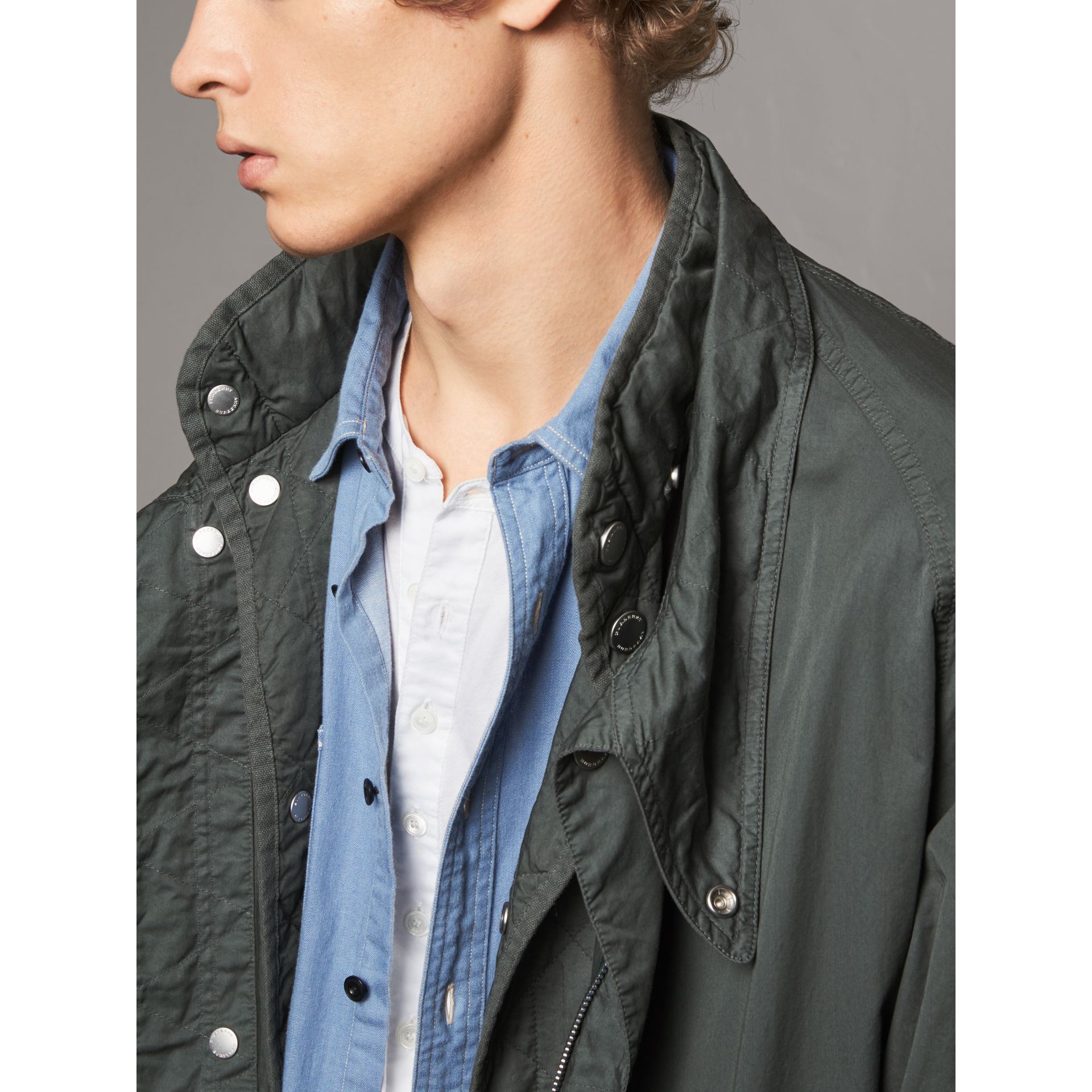 Detachable Hood Cotton Parka with Warmer in Smokey Green - Men | Burberry Hong Kong - gallery image 5
