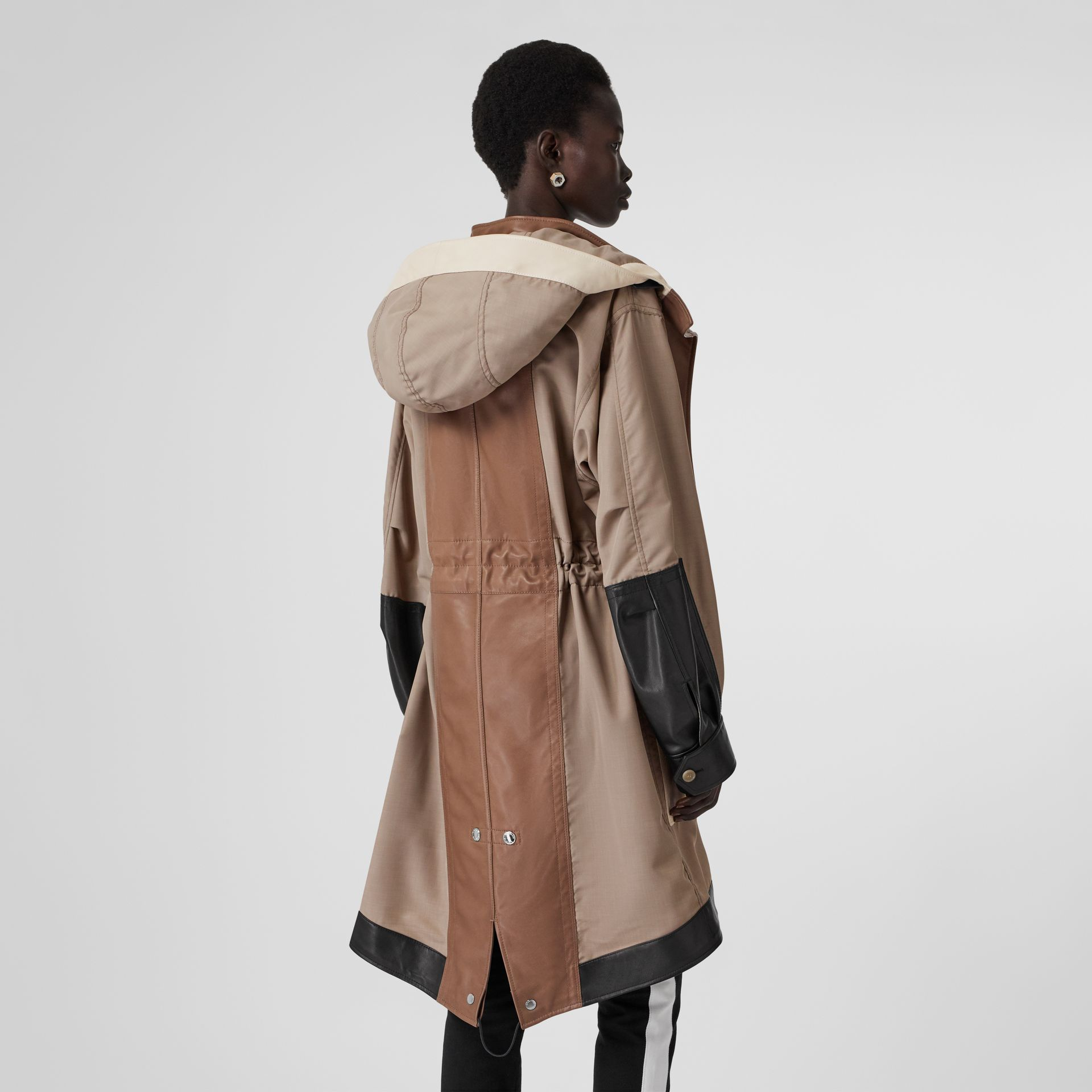 Leather Panelled Nylon Hooded Parka in Warm Taupe - Women | Burberry United Kingdom - gallery image 2