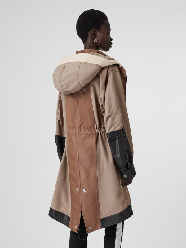 Leather Panelled Nylon Hooded Parka in Warm Taupe - Women | Burberry - cell image 2