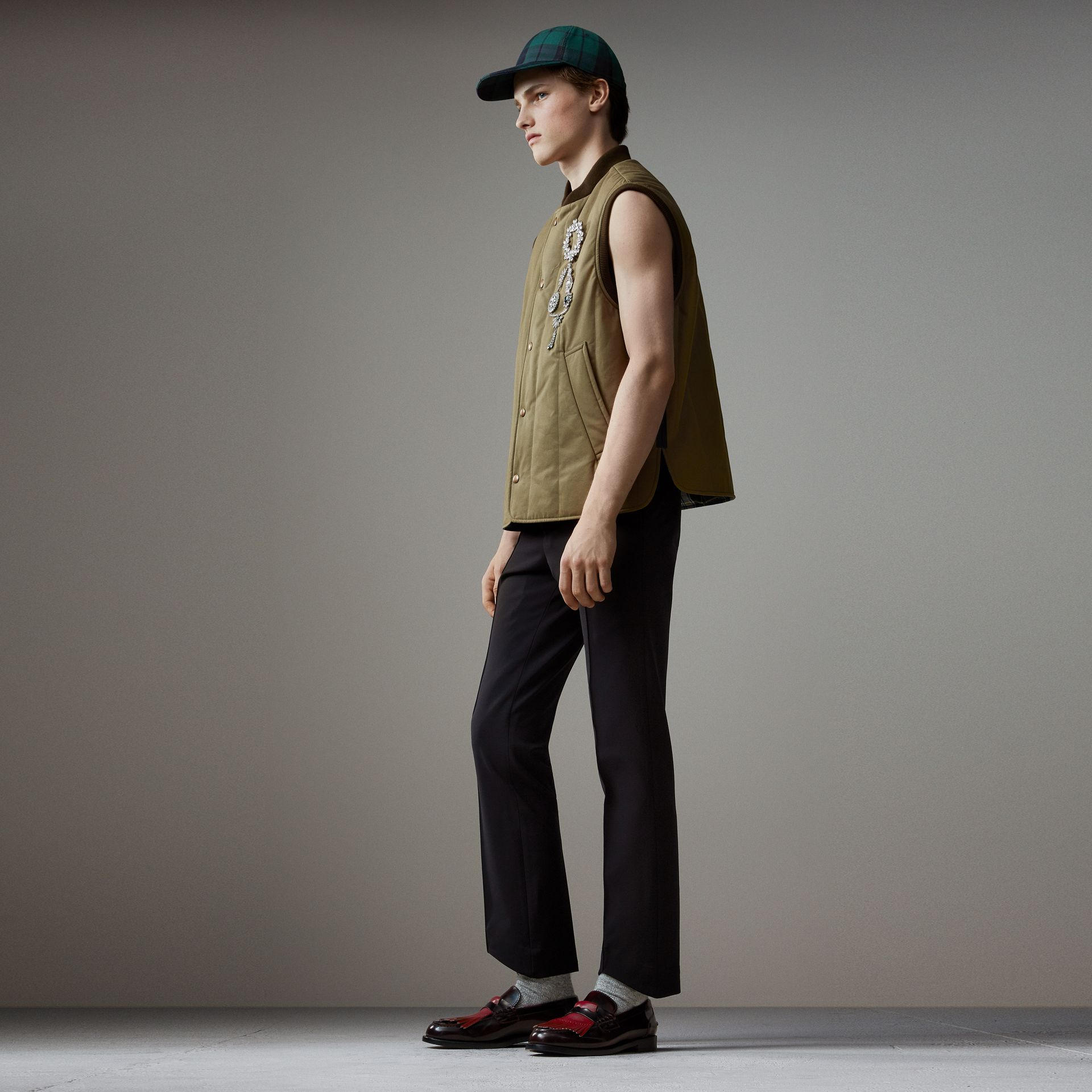 Quilted Cotton Poplin Gilet in Pale Olive - Men | Burberry - gallery image 0