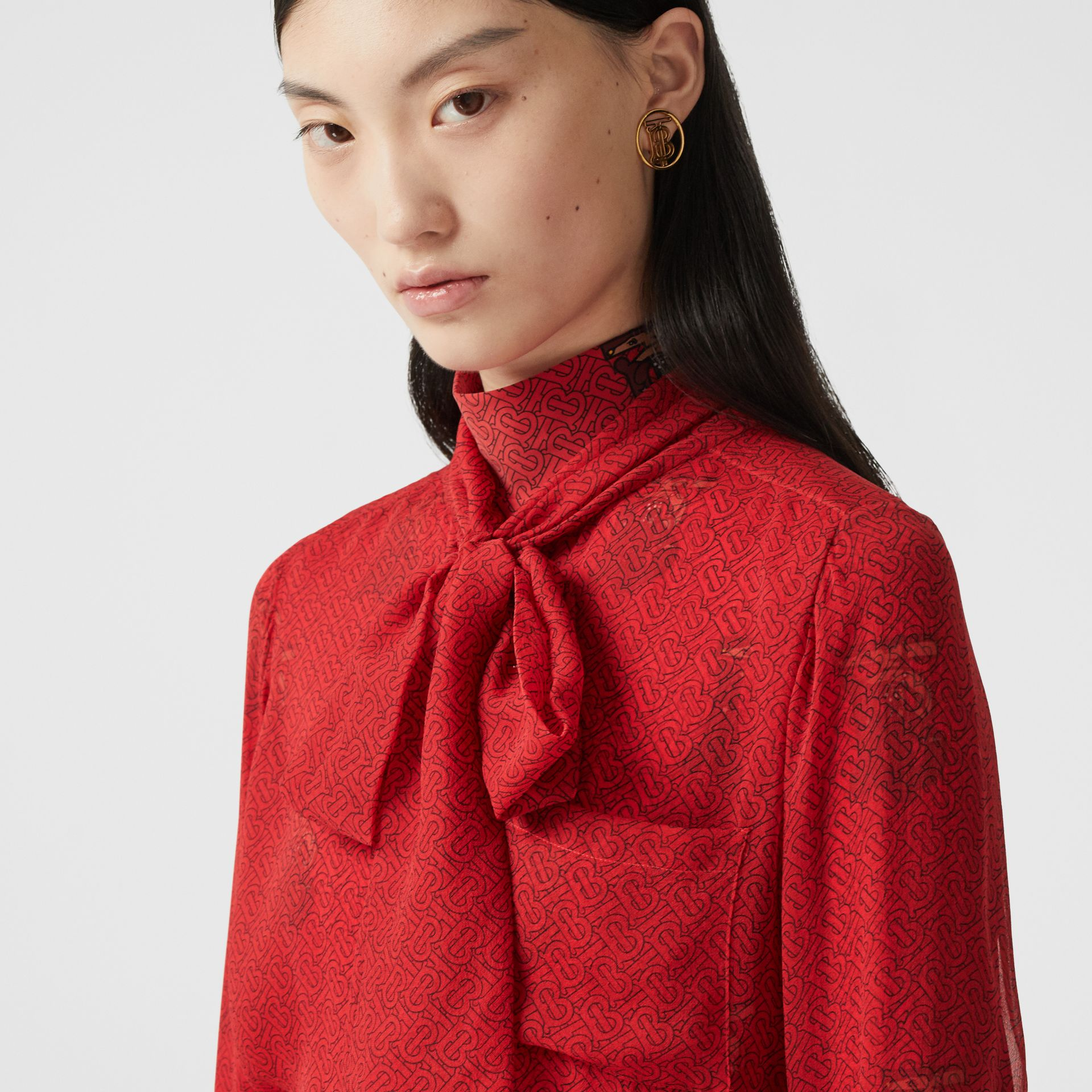 Monogram Print Silk Chiffon Pussy-bow Blouse in Bright Red - Women | Burberry - gallery image 1