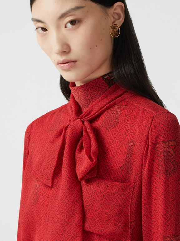 Monogram Print Silk Chiffon Pussy-bow Blouse in Bright Red - Women | Burberry - cell image 1