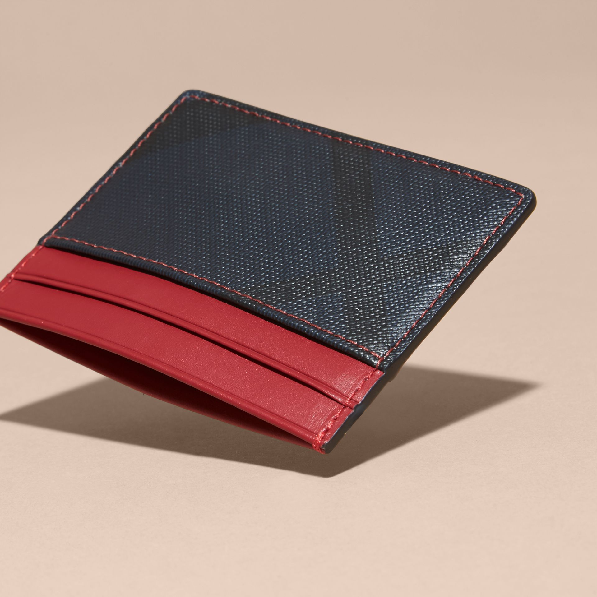London Check and Leather Card Case in Parade Red - gallery image 4