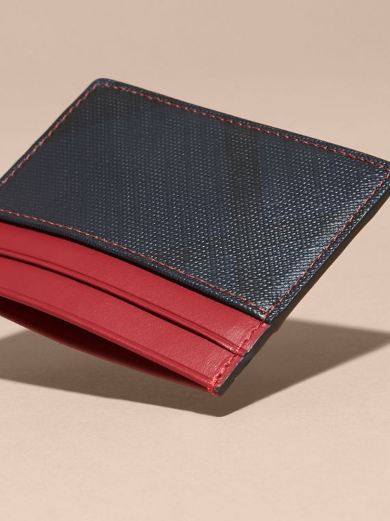 London Check and Leather Card Case in Parade Red - cell image 3