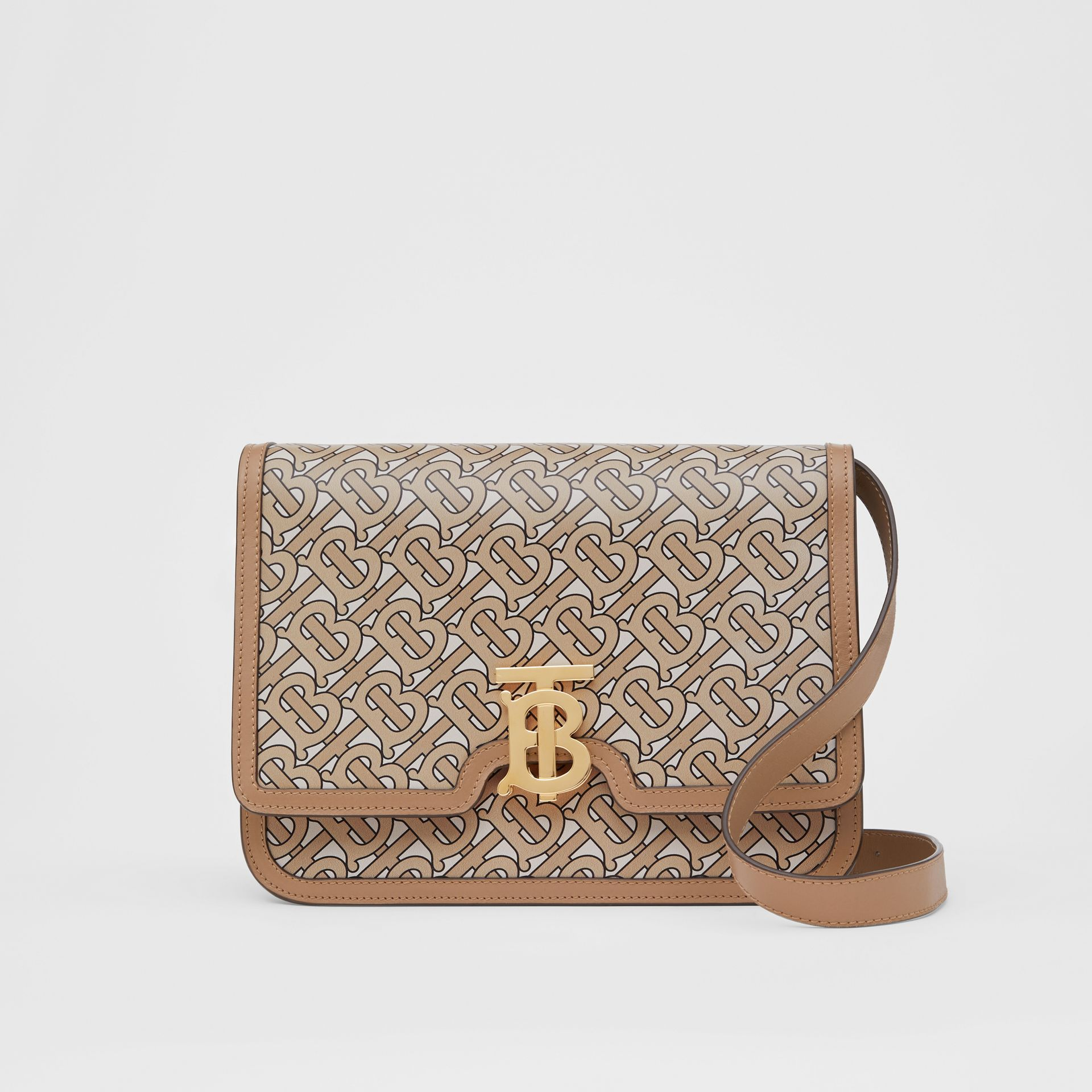 Medium Monogram Print Leather TB Bag in Beige - Women | Burberry Australia - gallery image 0