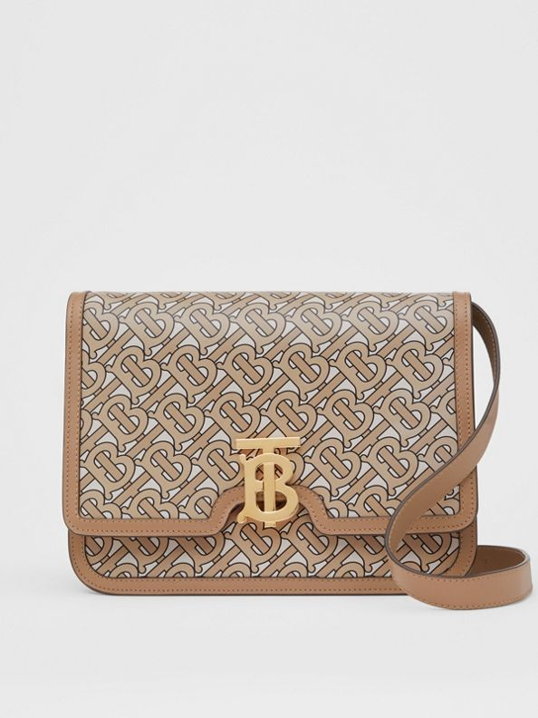 Medium Monogram Print Leather TB Bag in Beige