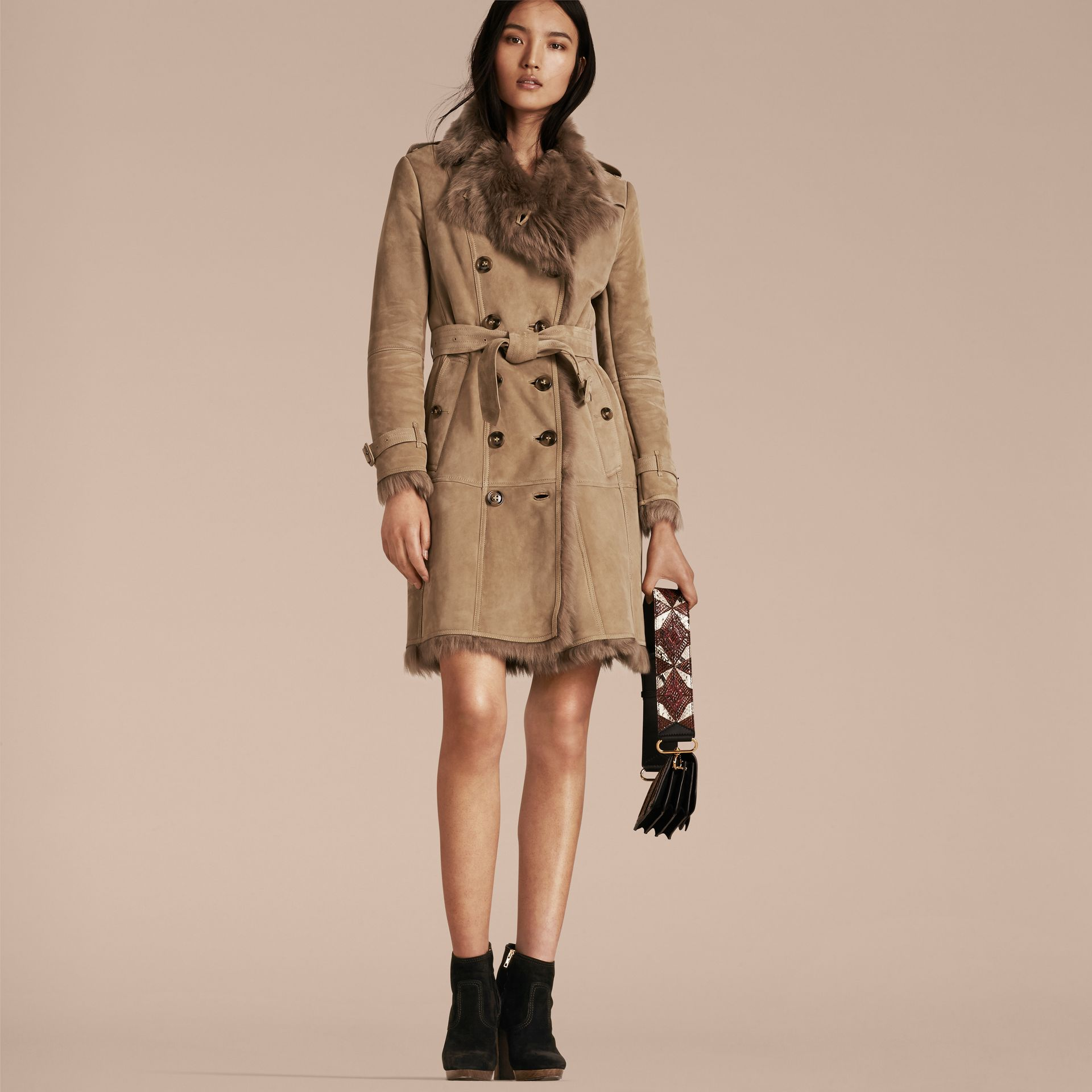 Camel Shearling Trench Coat Camel - gallery image 7
