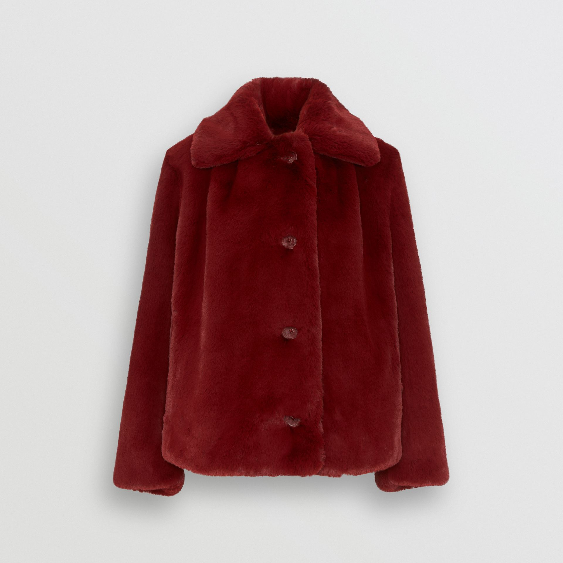 Faux Fur Single-Breasted Jacket in Burgundy - Women | Burberry - gallery image 3