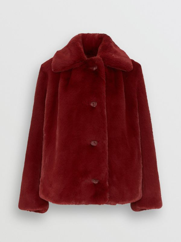 Faux Fur Single-Breasted Jacket in Burgundy - Women | Burberry - cell image 3