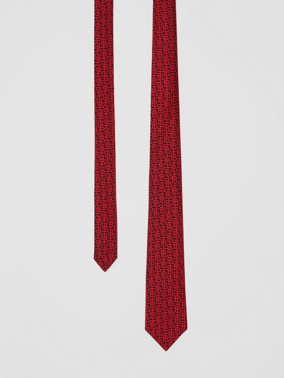 Classic Cut Monogram Silk Jacquard Tie in Bright Red