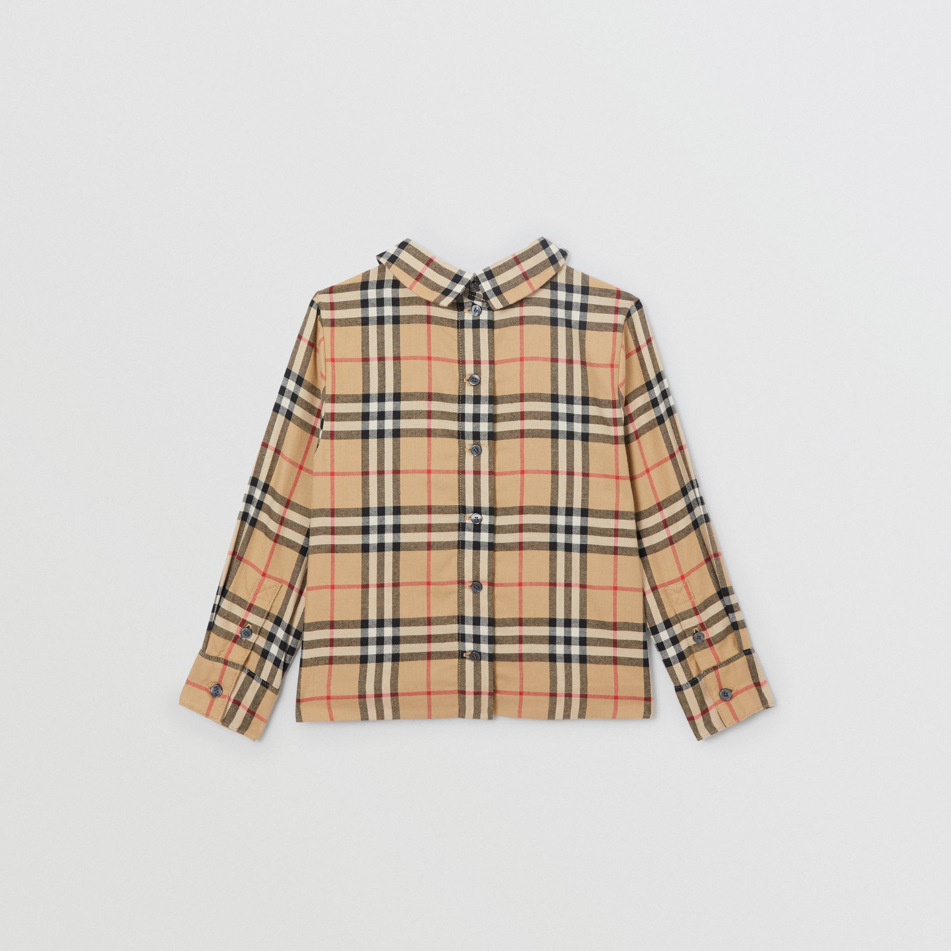 Pintuck Detail Vintage Check Cotton Twill Blouse in Archive Beige | Burberry - gallery image 4