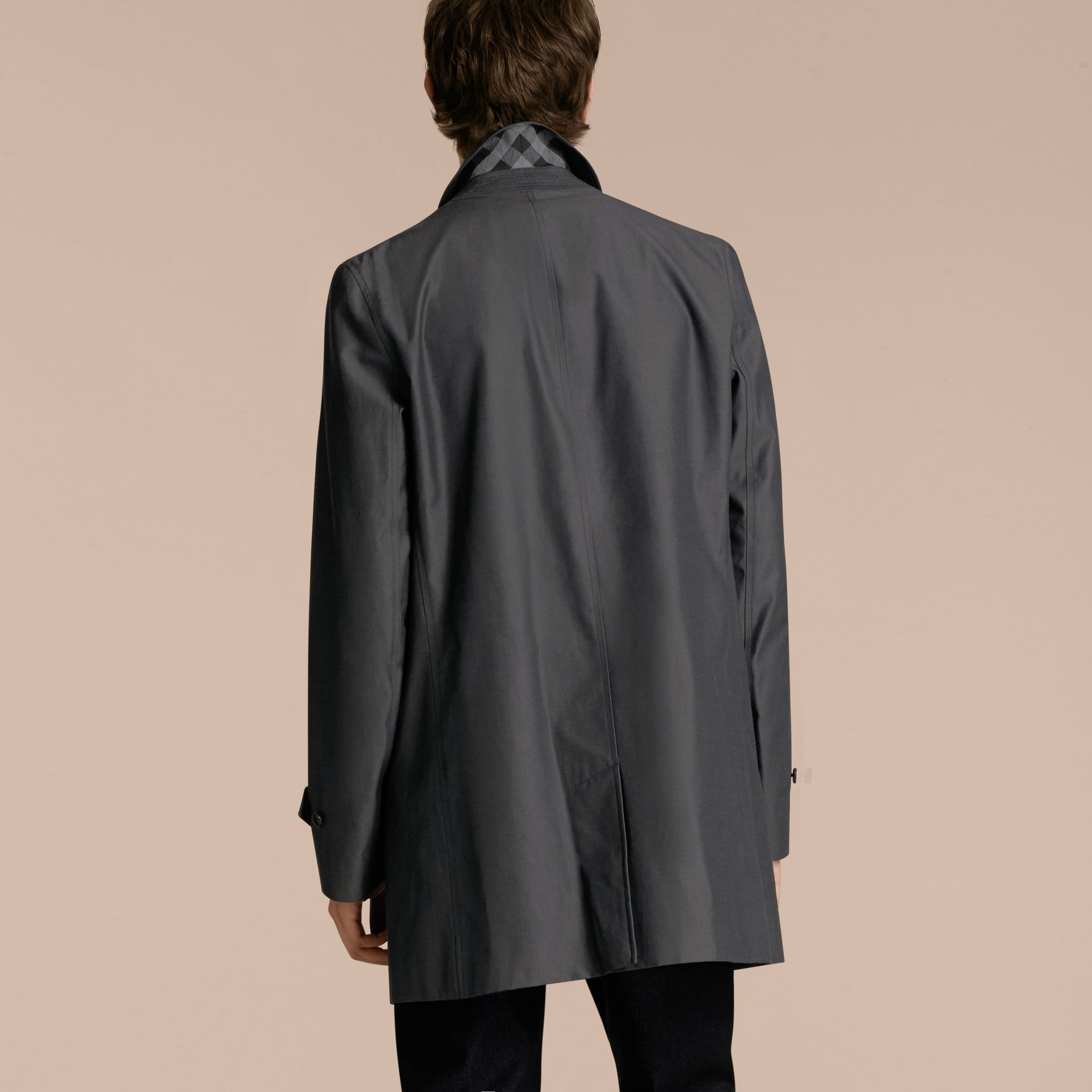 Cotton Gabardine Car Coat True Indigo - gallery image 3