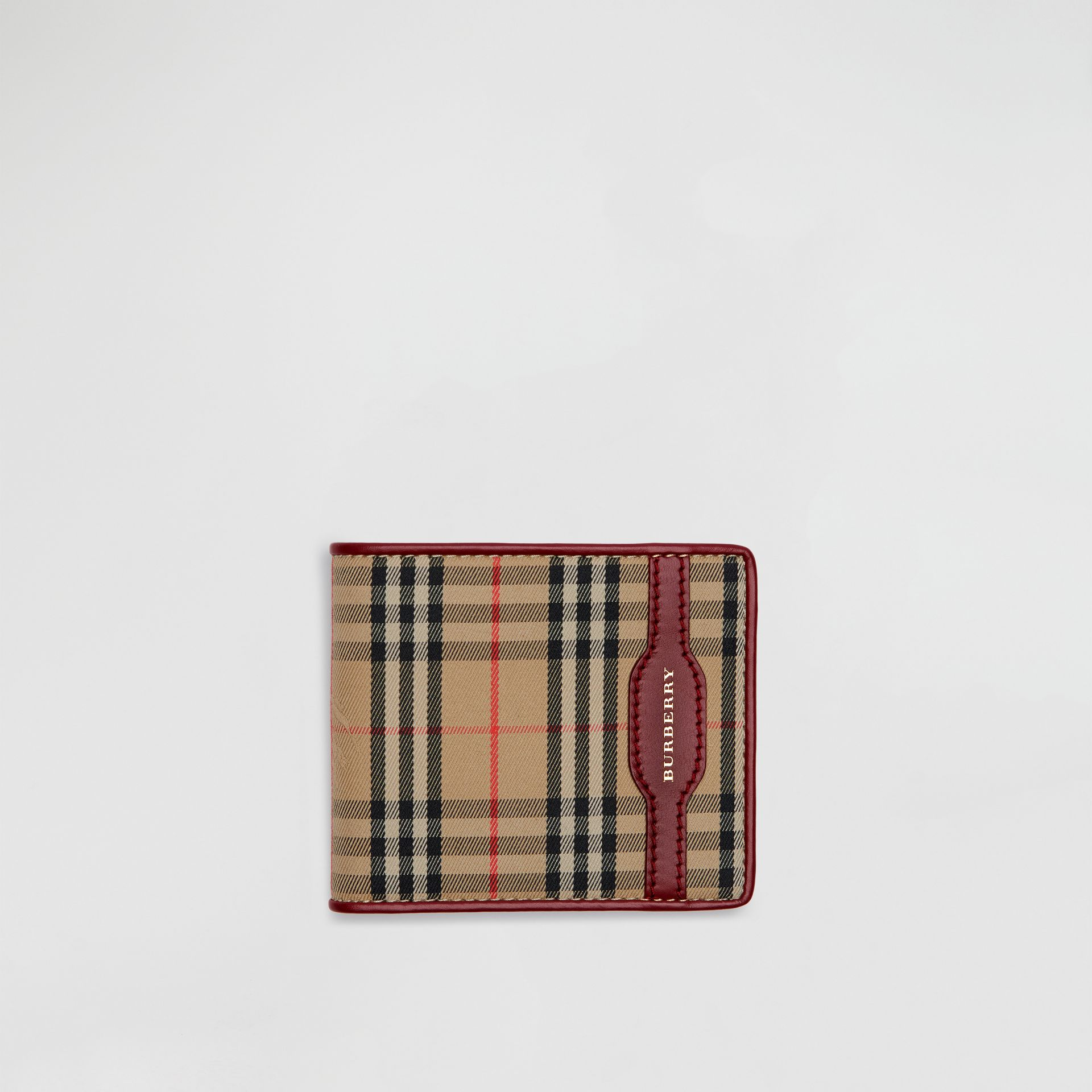 1983 Check and Leather International Bifold Wallet in Antique Red - Men | Burberry Hong Kong - gallery image 0