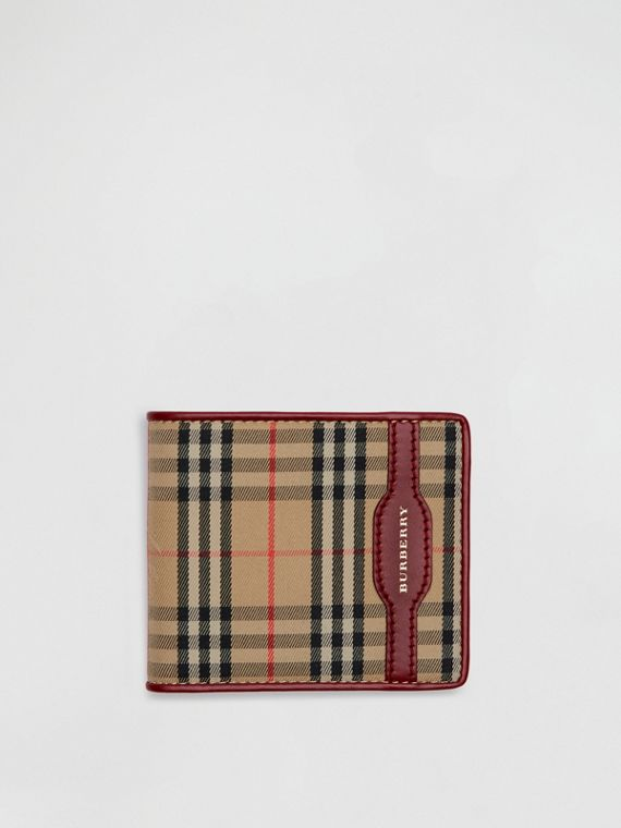 1983 Check and Leather International Bifold Wallet in Antique Red