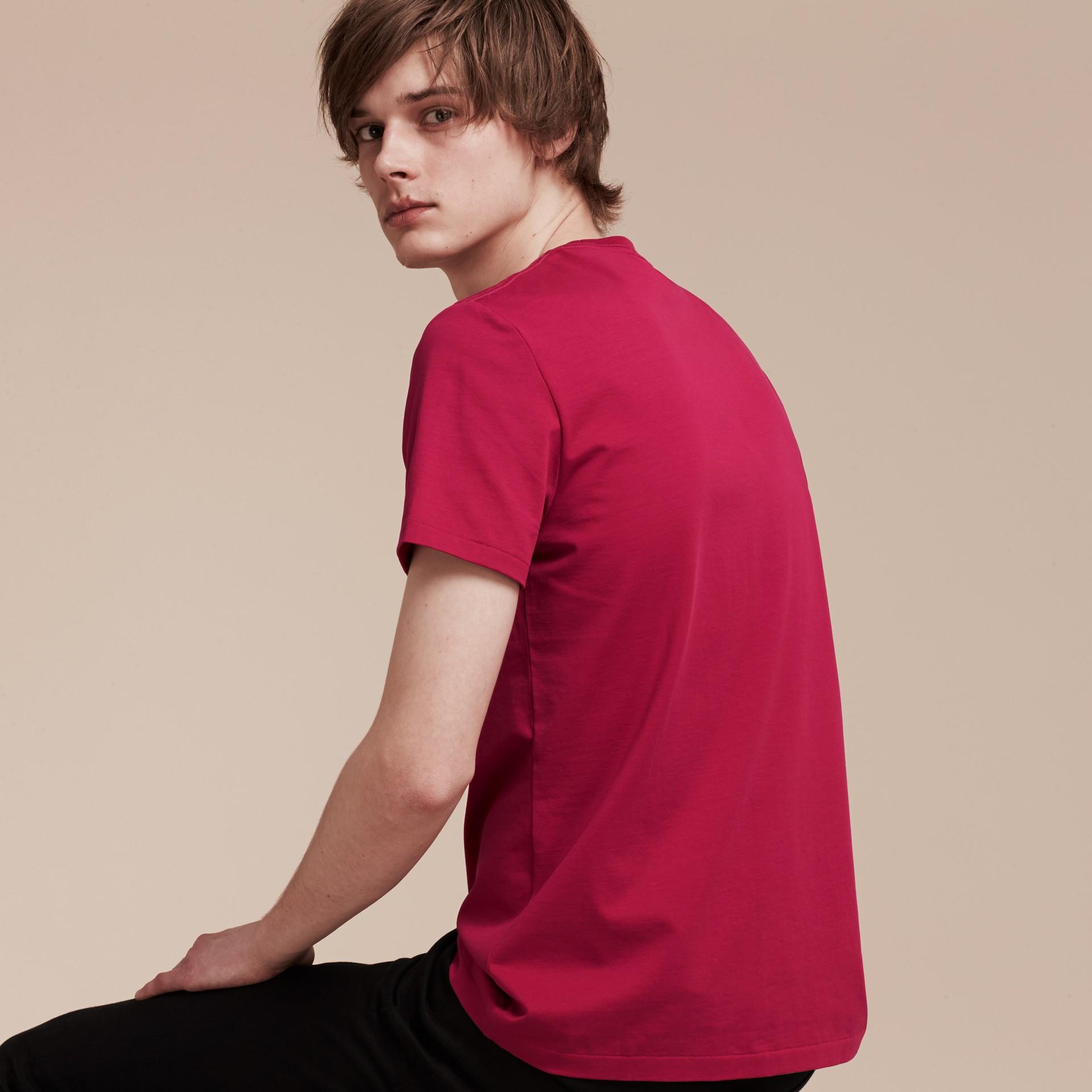 Fucsia acceso T-shirt in cotone morbidissimo Fucsia Acceso - immagine della galleria 3