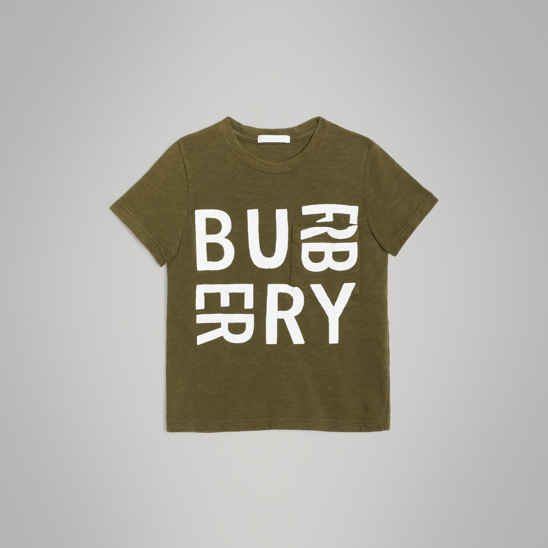 Logo Print Cotton T-shirt in Khaki | Burberry - gallery image 0