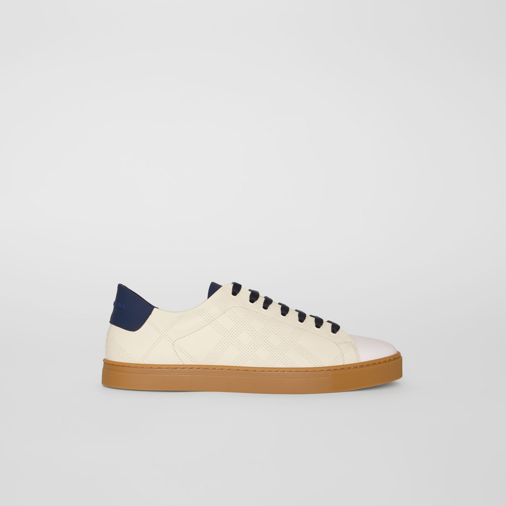 Perforated Check Leather Sneakers in Cream - Men | Burberry - gallery image 5