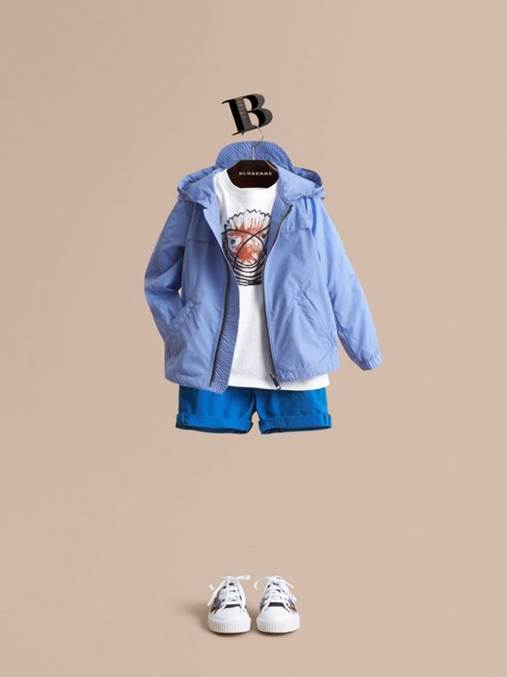 Showerproof Hooded Technical Jacket in Hydrangea Blue - Boy | Burberry