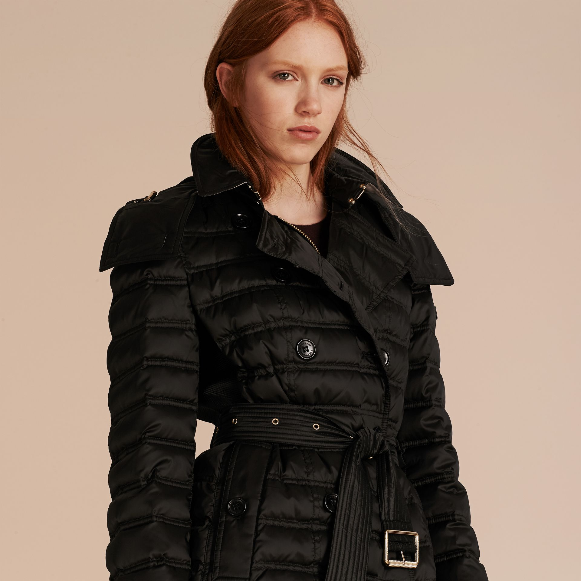 Black Down-filled Puffer Coat with Detachable Hood Black - gallery image 7