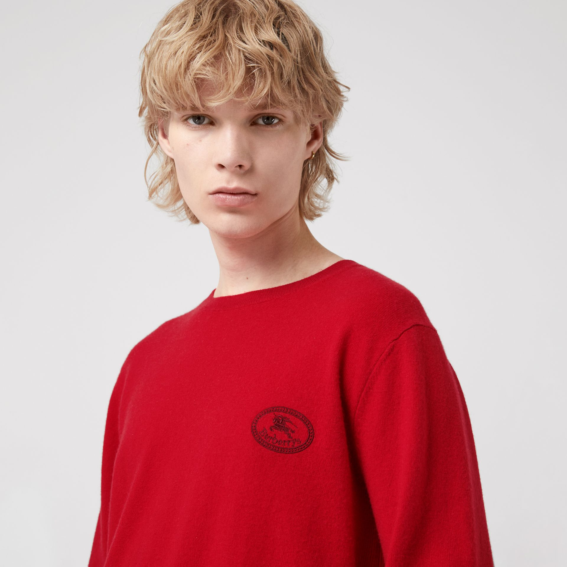 Embroidered Archive Logo Cashmere Sweater in Bright Red - Men | Burberry - gallery image 1