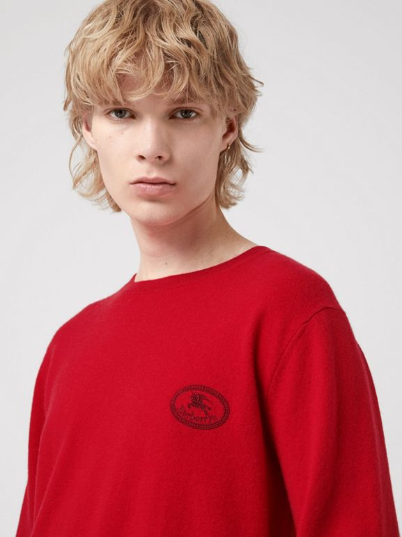 Embroidered Archive Logo Cashmere Sweater in Bright Red - Men | Burberry - cell image 1