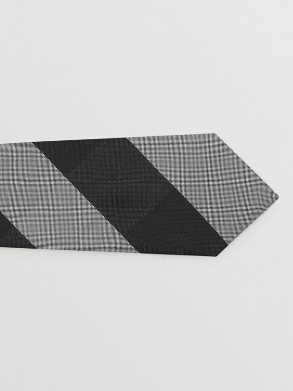 Modern Cut Oversized Check Silk Tie in Charcoal - Men | Burberry United Kingdom - cell image 1
