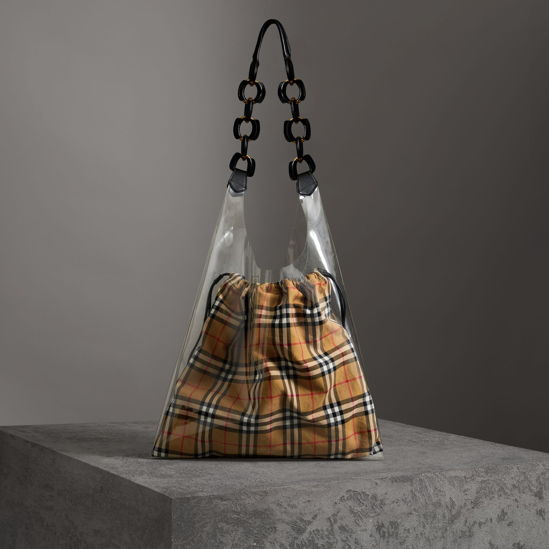 Medium Plastic Shopper with Vintage Check Pouch in Antique Yellow/black - Women | Burberry Australia - gallery image 0