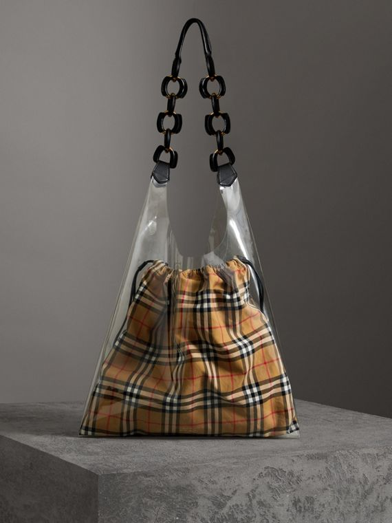 Shopper media in plastica con trousse in motivo Vintage check (Giallo Antico/nero)