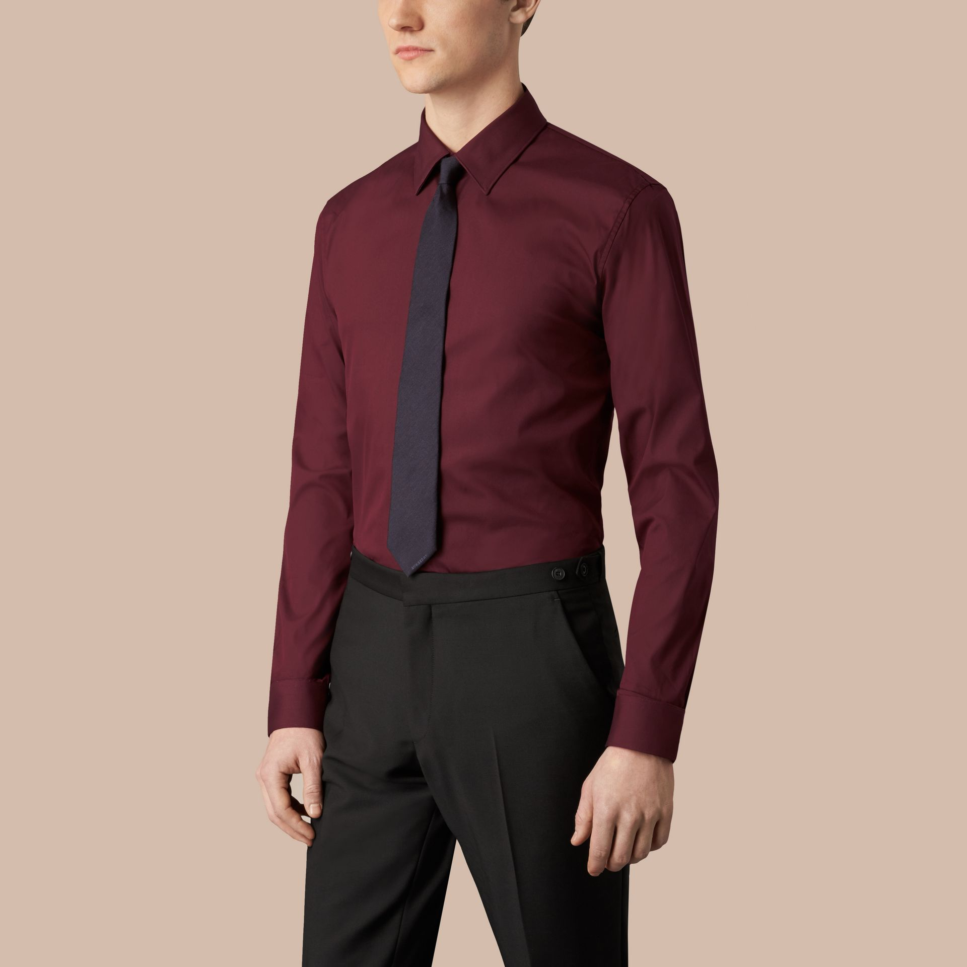 Slim Fit Stretch Cotton Shirt in Mahogany Red - gallery image 1