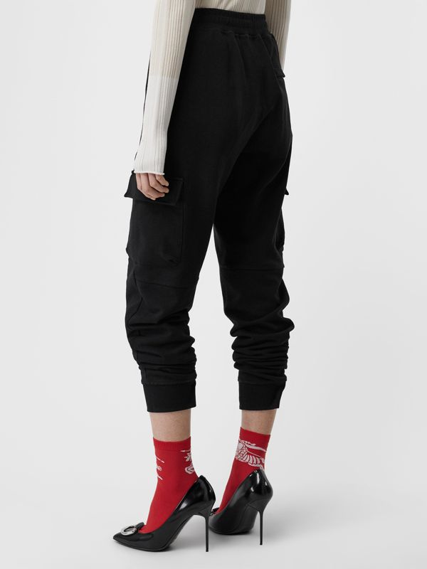 Pocket Detail Cotton Jersey Trackpants in Black - Women | Burberry - cell image 2