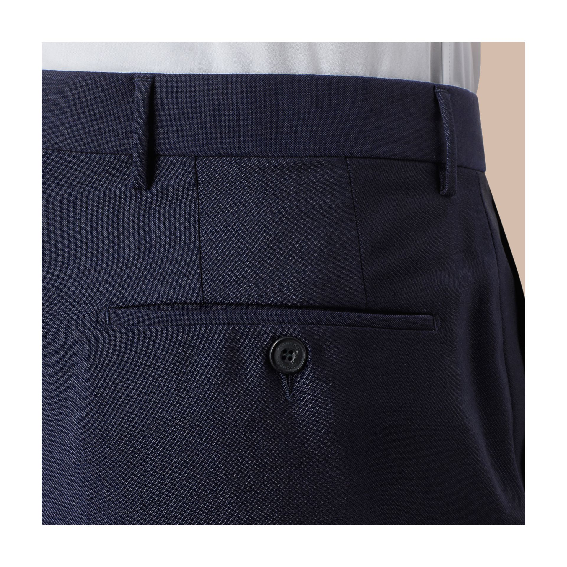 Modern Fit Wool Mohair Trousers Royal Navy - gallery image 2