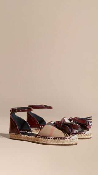 Tasselled Leather and House Check Espadrille Sandals