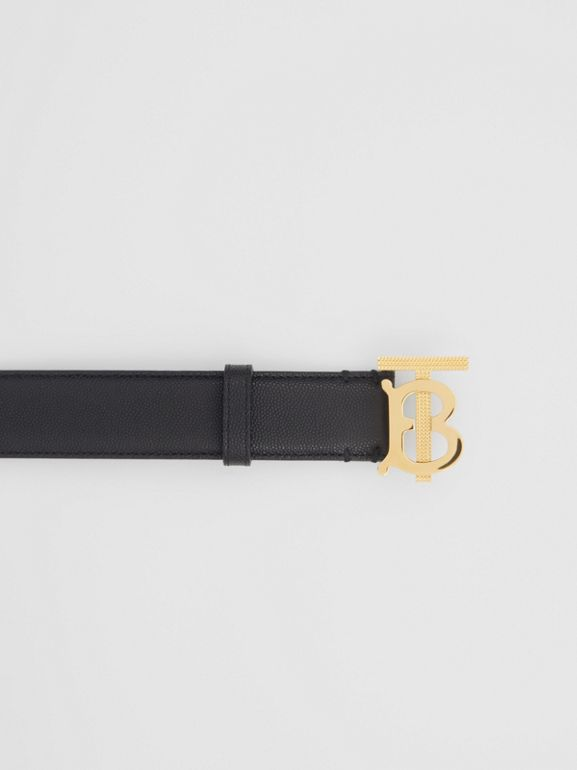 Monogram Motif Grainy Leather Belt in Black/light Gold - Women | Burberry - cell image 1