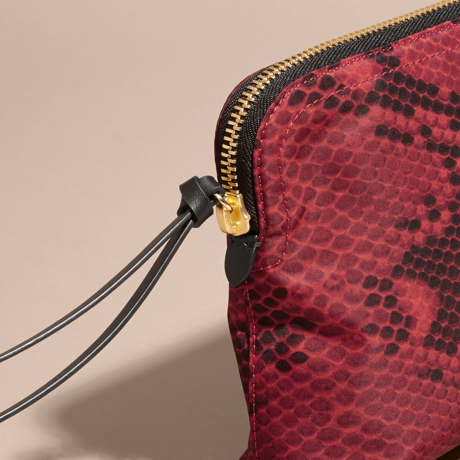 Burgundy red Large Zip-top Python-print Technical Nylon Pouch Burgundy Red - gallery image 5