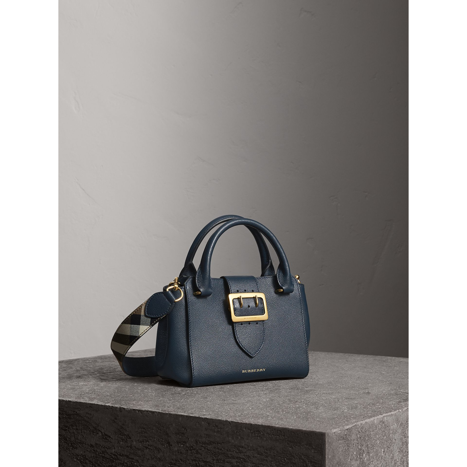 The Small Buckle Tote in Grainy Leather in Blue Carbon - Women | Burberry - gallery image 7