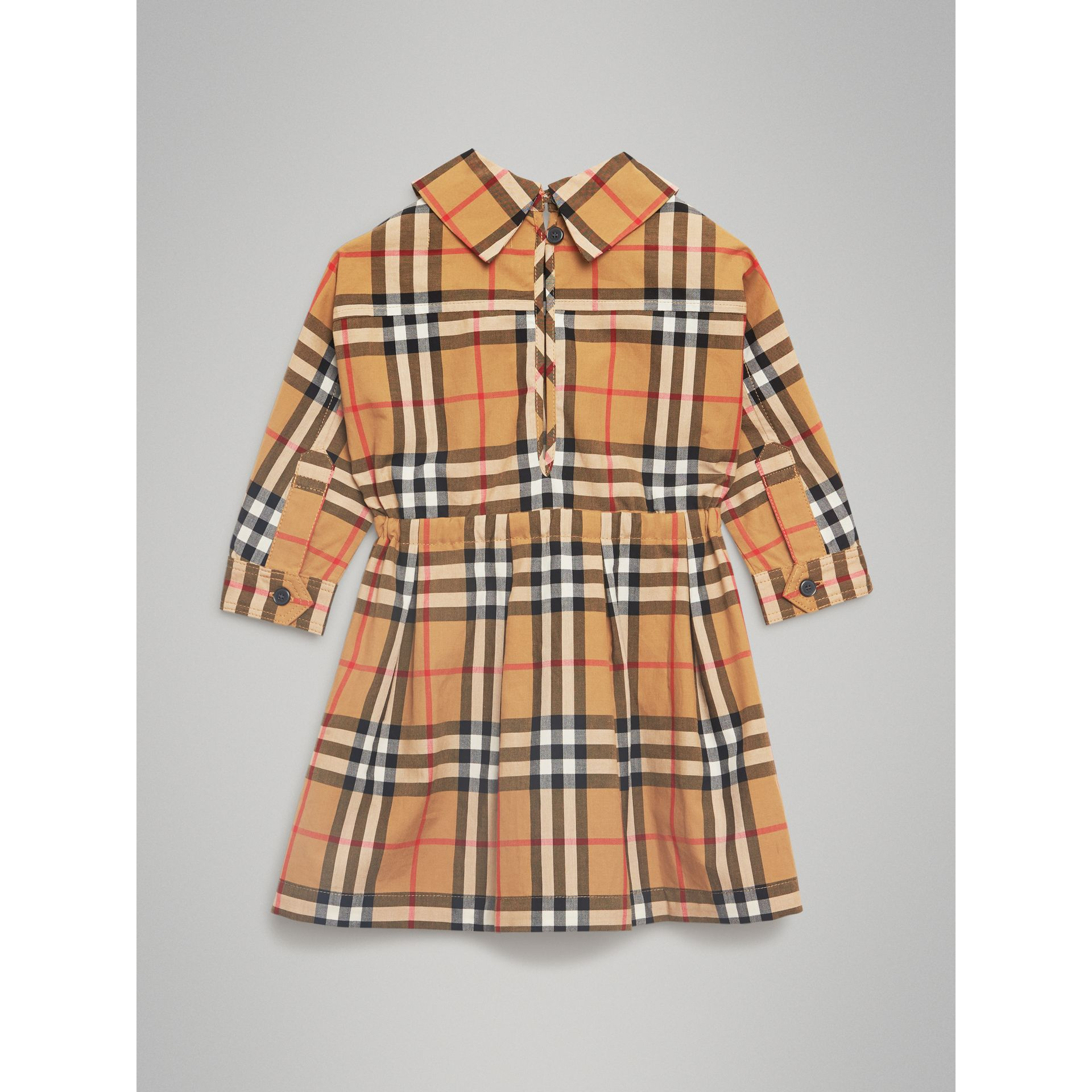 Vintage Check Cotton Drawcord Dress in Antique Yellow | Burberry - gallery image 3