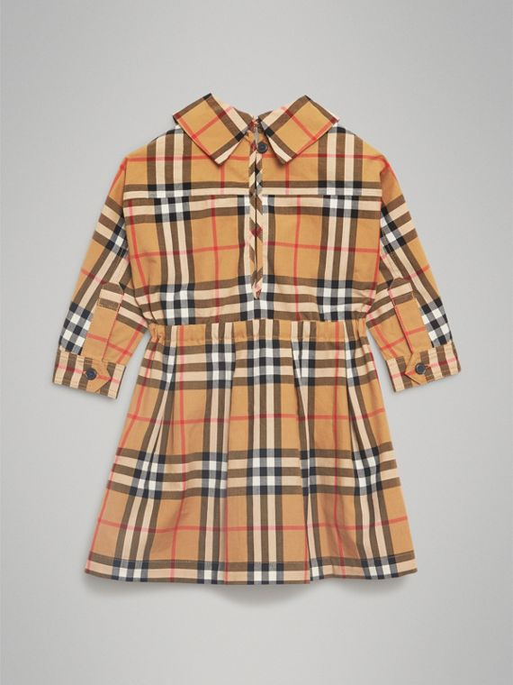 Vintage Check Cotton Drawcord Dress in Antique Yellow | Burberry Australia - cell image 3