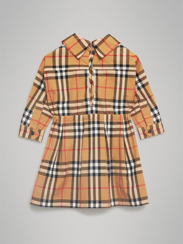 Vintage Check Cotton Drawcord Dress in Antique Yellow - Children | Burberry - cell image 3