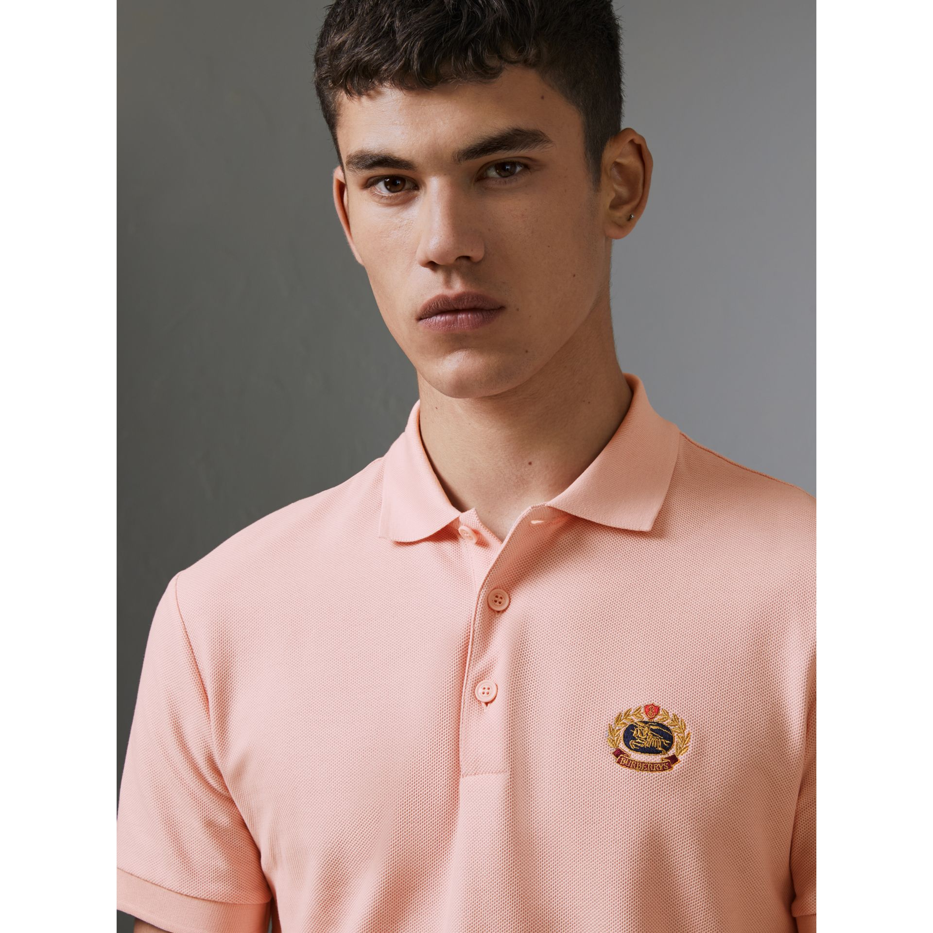 Archive Logo Cotton Piqué Polo Shirt in Pale Pink - Men | Burberry - gallery image 1